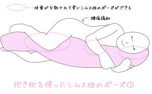 抱き枕を抱える様子