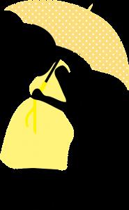 黄色いワンピースを着て傘を持つ横向きの妊婦のイラスト