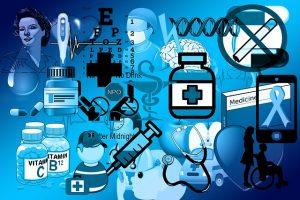 薬や体温計、医師やナース、注射などのコラージュ