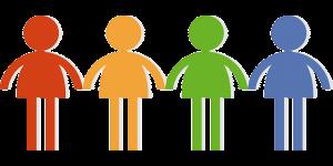 4色の人型のイラストが横並びに手を繋ぐ