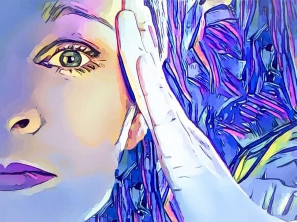 額に手を当てる女性の顔の絵