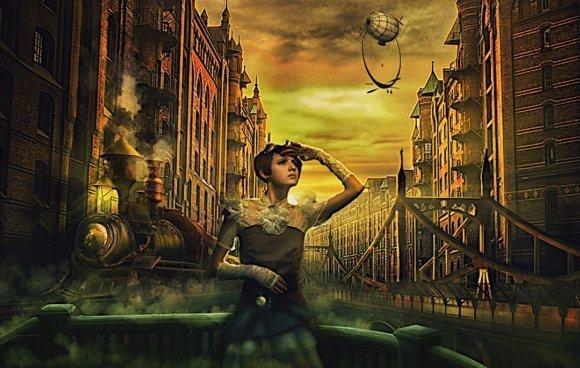 街の中に機関車と橋と気球と空を見上げるドレスの女性