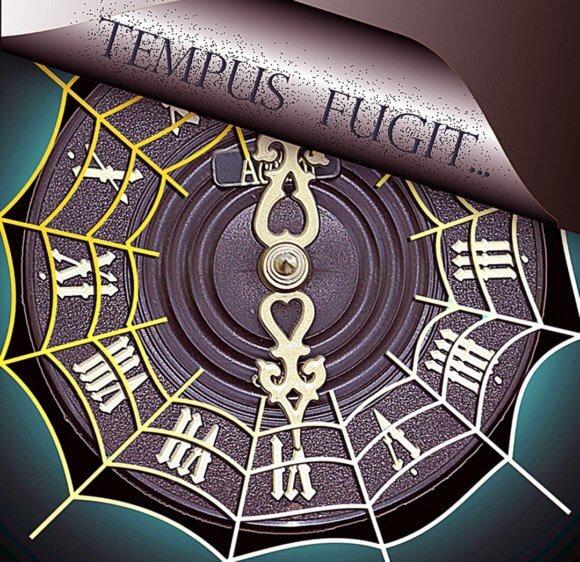 蜘蛛の巣の貼った時計にtempus fugit