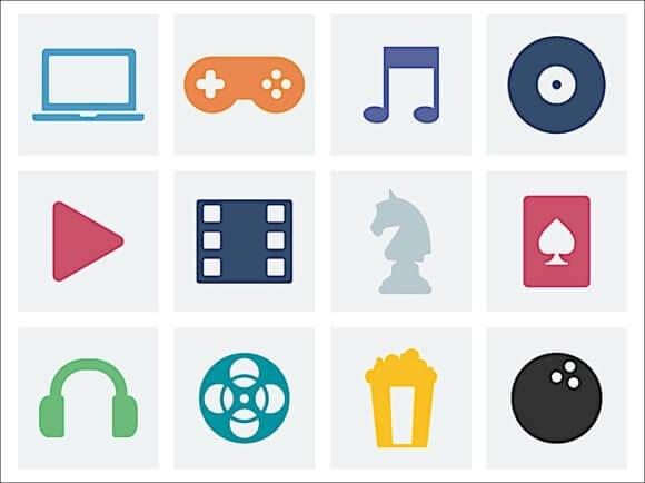 パソコン、音楽、ボーリング、ゲーム映画などを想像させる12個のアイコン