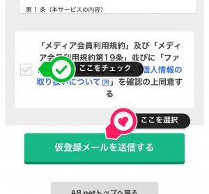 チェックする項目と仮登録メールを送信する手順を『ここを選択』と記載