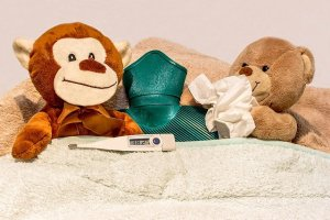 熊と猿の人形と水枕、体温計、ティッシュ
