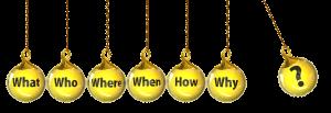 紐に吊るされた7つの黄色い玉のそれぞれに『what,who,when,where,how,why,?』の文字がかかれている