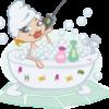 バスタブに浸かり携帯片手に入浴を楽しむ女性のイラスト